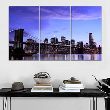 3 Piece At Evening New York City Brooklyn Bridge Lights Picture High Quality Canvas Print Home Decor Living Room Wall