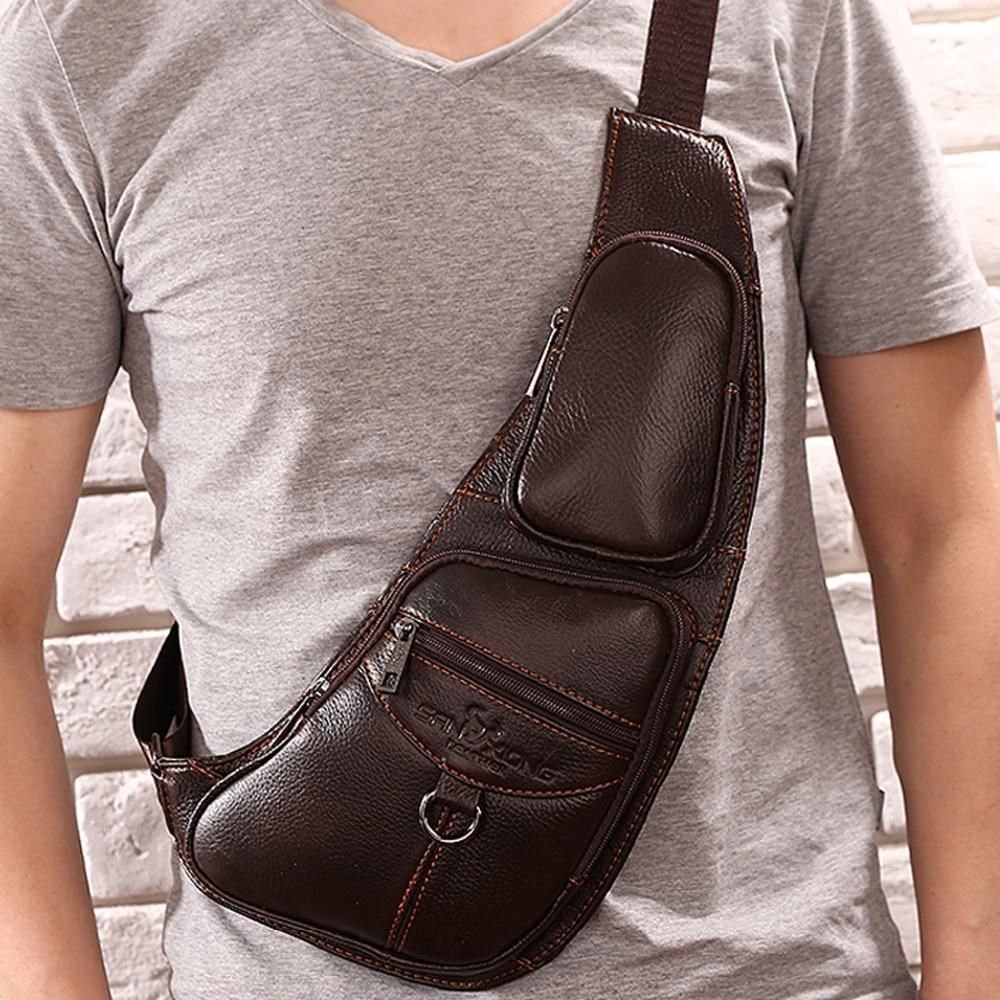 2016 New font b Men b font Genuine Leather 100 Real Cowhide Messenger font b Shoulder