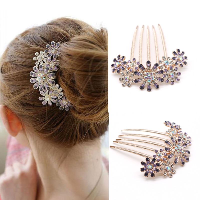 1pcs Fashion Crystal Flower Hairpin Metal Hair Clips Comb Pin For Women Female Hairclips Hair Comb Hair Accessories Styling Tool