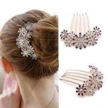 цены на 1pcs Fashion Crystal Flower Hairpin Metal Hair Clips Comb Pin for Women Female Hairclips Hair Comb Hair Accessories Styling Tool  в интернет-магазинах