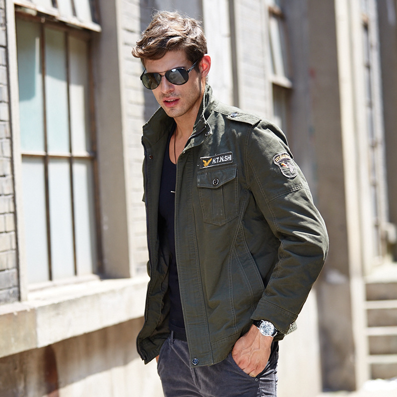 Fashion Men's Spring/Autum Warm Long Sleeved Jackets Coat Casual Jackets Zipper Turn-down Collar Military Army Pilots Jackets