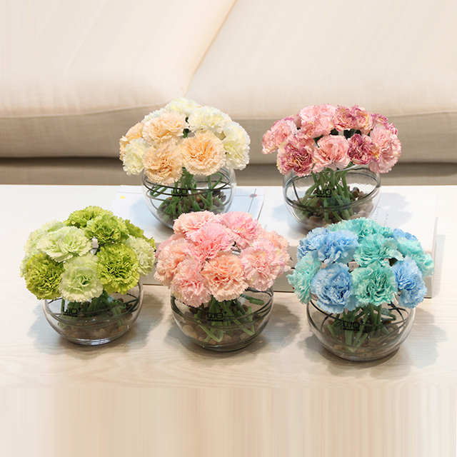 Flower bonsai carnations artificial flowers set potted plant flower flower bonsai carnations artificial flowers set potted plant flower ceramic glass vase home decoration mothers day mightylinksfo
