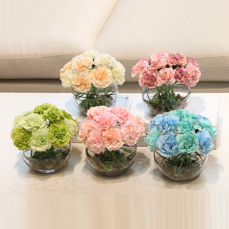 Flower Bonsai carnations artificial flowers set potted plant flower Ceramic glass vase home decoration Mother's day gift