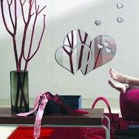 현대 아크릴 거울 벽 스티커 거실 침실 웨딩 룸 장식 심장 거울 벽 스티커 홈 장식