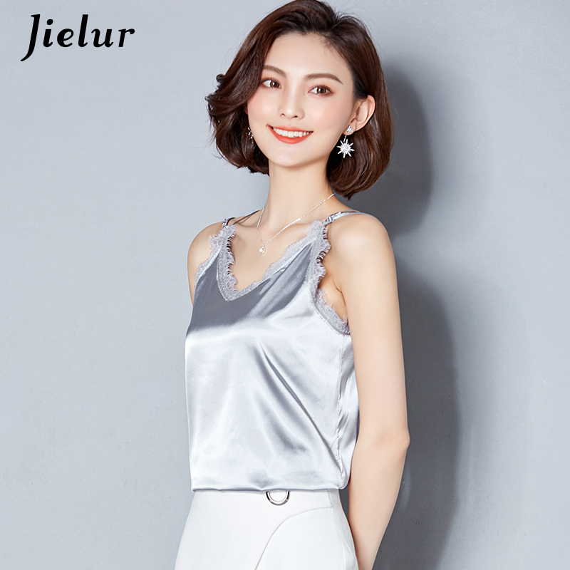 Jielur Lace Patchwork Camis Sexy V-neck Solid Backless Women   Tank     Top   Vintage Basic Chic Female   Tops   Silver Vest Camisa Feminina
