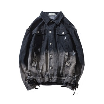 M-XL Men Denim Jackets For Me jacket Collar Hole Hole     Cotton Outerwear jean jacket Fit Casual With Pockets Coats For Men