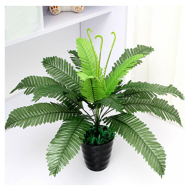 plastic artificial boston fern silk fake plant foliage silk potted