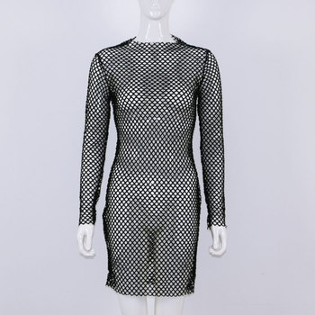 OMSJ 2018 New Women Sexy Fishnet Mesh Long Sleeve Knitted Crochet Dress Hollow Out Beach Tunics Swimsuit Dress See-through Wrap 5