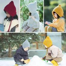 1de4eea1314bc 0-5 Year Old Baby Baby Knitted Beanies Lovely Crochet Solid Color Windproof  Ear Protector Hat Children Soft Warm Elf Cap