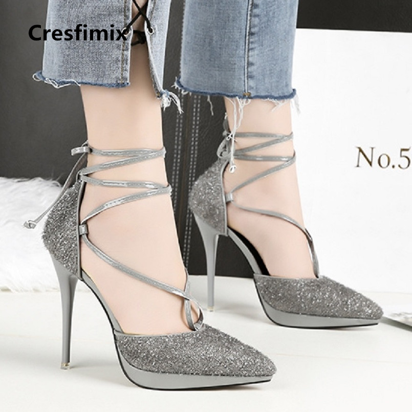 women cute high quality silver pointed toe high heel shoes lady casual golden string tie high heels female cool shoes <font><b>e2640</b></font> image