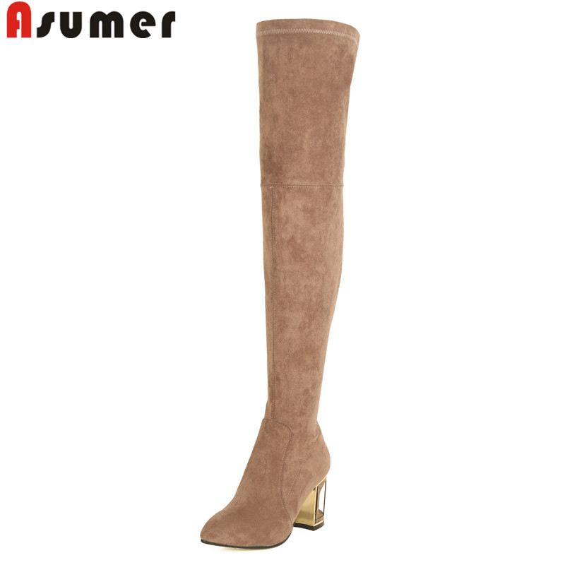 ASUMER big size 33-43 fashion autumn winter shoes woman pointed toe over the knee boots suede leather high heels boots novatrack cruiser 20 2015
