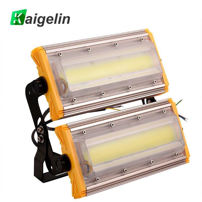 купить 2 PCS Kaigelin 100W COB LED Flood Light 8000LM IP65 Waterproof LED Floodlight Outdoor Lighting LED Spotlight Garden Wall Lamp по цене 4963.14 рублей