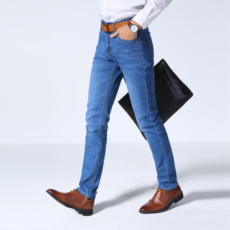 2019 New Men's Thin Light Jeans Business Casual Stretch Slim Denim Jeans Light Blue Trousers Male  Brand Pants Plus Size Pant