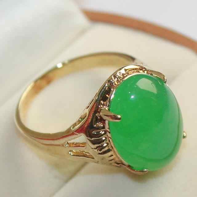 ล่าสุดการออกแบบเครื่องประดับ lady's แฟชั่นแหวนหยกสีเขียว (7,8, 9 #)