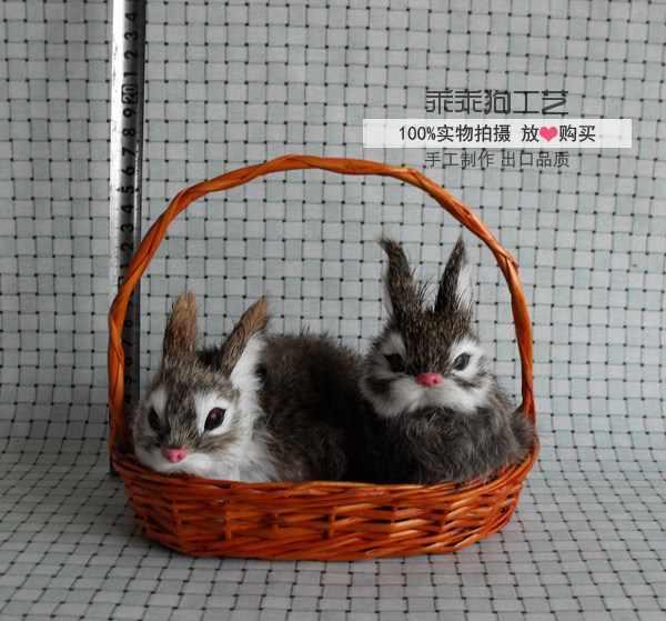 Имитация светло-коричневого кролика с корзиной 14x9x10 см модель полиэтилена и меха Кролик модель домашний декор реквизит, модель подарка d816
