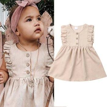 ¡Novedad de 2019! vestido con volantes de color albaricoque para bebés y niñas, vestido de boda con botones y botones para fiesta de princesas, vestido de 1 a 6T
