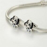 Pandulaso Schwarz Emaille Hund Welpen Blau CZ Star Haustier Perlen Fit Charms Silber 925 Original Armbänder für Frauen DIY Schmuck