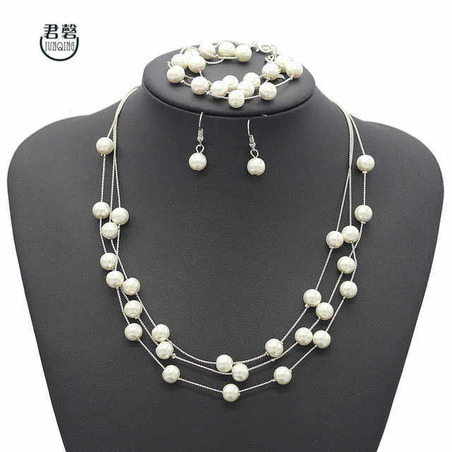 Elegant Jewelry Set Fashion Women Simulated Pearl White Gold Color Necklace Earrings Bracelet