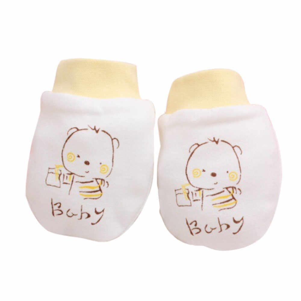 1 ペアベビーアンチスクラッチグローブかわいい漫画ベビーベビー男児アンチスクラッチミトンソフト新生児手袋のギフト