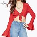 Nuevas mujeres sólido rojo sexy crop top de la camisa con cuello en v frente remate gasa ocasional flare manga calle bandeau tops