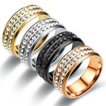 Women Fashion Black/Gold Rings Anillo Mujer Bague Crystal Stainless Steel Rings Wedding Rings Jewelry(China)