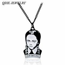 QIHE JEWELRY Wednesday Addams Adams Necklace The Addams Family Jewelry Addams Quote Gothic Goth Dark Gift(China)
