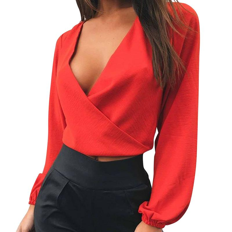 Full Sleeve V Neck Backless Bow Short Chiffon Blouse Women Sexy Club Party Shirts Women Blouses 2018 New Orange White Crop Tops