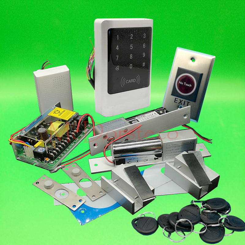 Full Waterproof 125khz Rfid Double Glass Door Access Control System Kit 12V5A Power Electric Bolt Lock No Touch Exit Button raykube glass door access control kit electric bolt lock touch metal rfid reader access control keypad frameless glass door