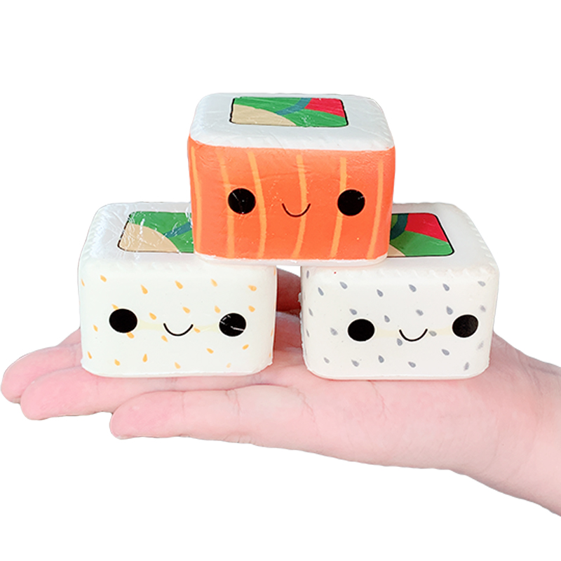 New Kawaii Square Japanese Sushi Squishy Simulation Slow Rising Cream Scent Soft Squeeze Toy Stress Relief Fun For Kid Xmas Gift