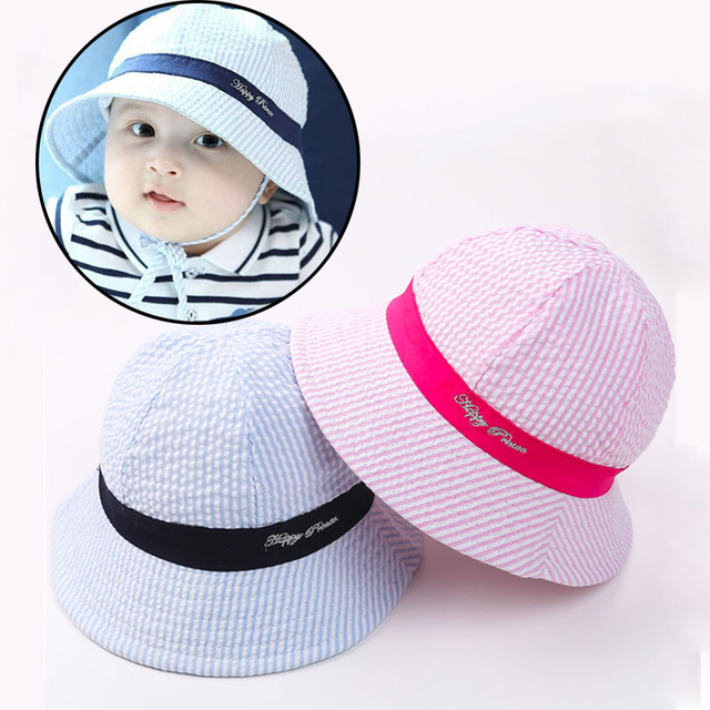 Lovely Striped Newborn Baby Girls Boys Summer Children s Hat Bucket Hat Sun  Caps Cotton Newborn Photography 11e65b9b3aa4