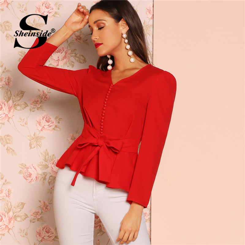 Sheinside Button Detail Belted Peplum Top Female V Neck Long Sleeve Blouse For Women 2019 Spring Womens Tops Elegant Red Blouses