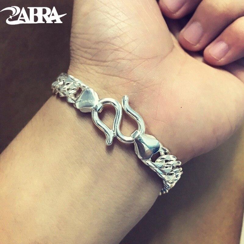 ZABRA Pure 990 Sterling Silver Men Bracelet Bright 9mm Width 19cm Link Fashion Chain Bracelets For
