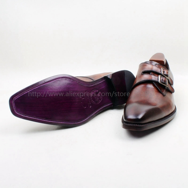 cie Square Toe Hand-Painted Patina Brown Double Monk Strapls Buckle 100%Genuine Calf Leather Breathable Outsole Men Shoe MS142