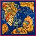 100 cm * 100 cm de Las Mujeres 2016 Nueva Moda Sarga Animales Mariposa Imprimió La Bufanda Cuadrada de Seda de La Venta Caliente