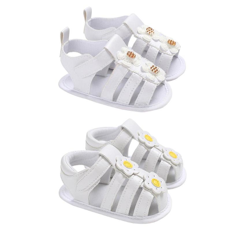 Newborn Baby Girls Sandals Summer Casual Fashion PU Soft Bottom Sticker Prewalkers Anti-Skid Shoes Kids Toddler First Walkers