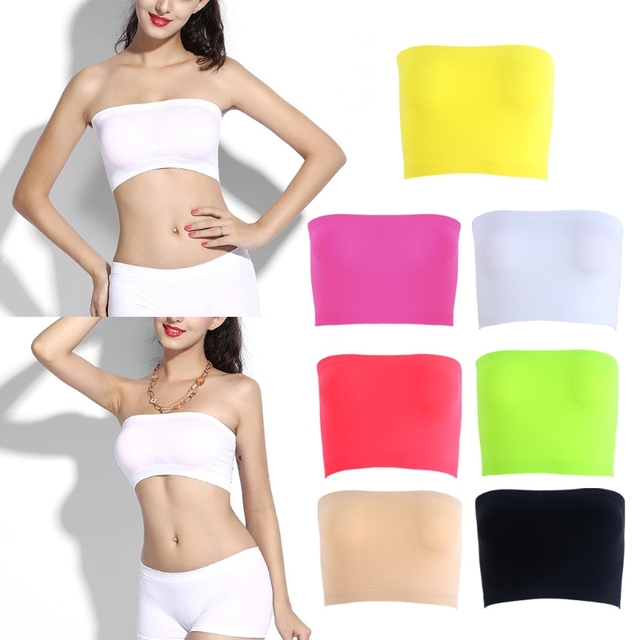 e63c57c8a579 One-Piece Seamless Elastic Strapless Bandeau Bra Tube Top Bra One Size Women  Summer Simple and Pure color Tube Top
