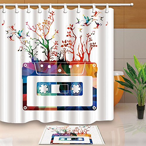 Hummingbirds Decorations Watercolor Lily Flowers Birds 69X70in Mildew Resistant Polyester Fabric Shower Curtain Suit In Curtains From Home Garden