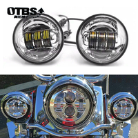 OTBS 4 1/2 4.5 Inch LED Fog Light Passing Auxiliary Lamps White Halo Ring for Harley Touring Electra Glide