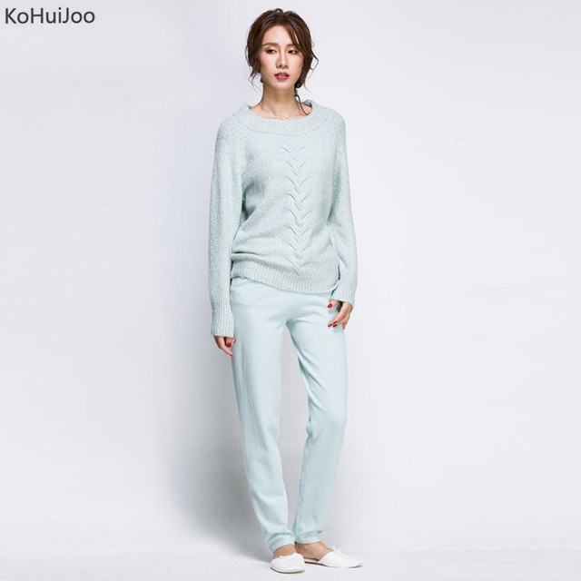 KoHuiJoo 2019 Autumn Winter Women Two Piece Set Knit Tops and Pants Suit High Quality Loose Casual Sporting Suit Set  2 pieces