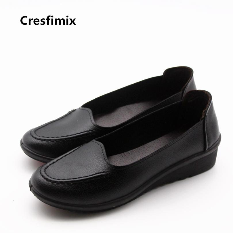 Cresfimix zapatos de mujer women casual plus size flat shoes female cute black pu leather flats lady cool comfortable shoes cresfimix women casual plus size slip on flat shoes lady leisure round toe grey flats zapatos de mujer female comfortable shoes
