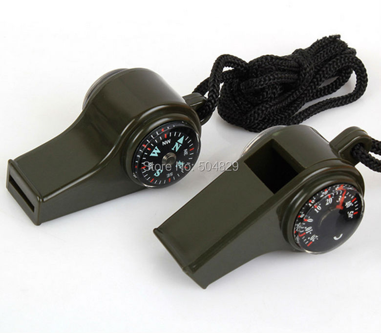 Wholesale 200pcs lot 3 in 1 Outdoor camping climing survival whistle with thermometer and compass survival