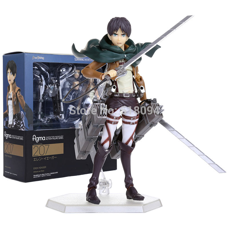 Attack on Titan Eren Jaeger Figma 207 PVC Action Figure Collection Model Toy 6 14cm 25cm levi ackerman rivaille li weier soldiers attack on titan trunk standing battle edition pvc action figure model toys
