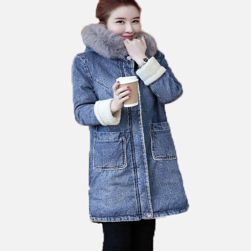 Women Denim   Parkas   New 2017 Winter Long Sleeved Hooded Faux Lambs Wool Lining Warm Jacket Female Medium Long Blue Jeans Coats