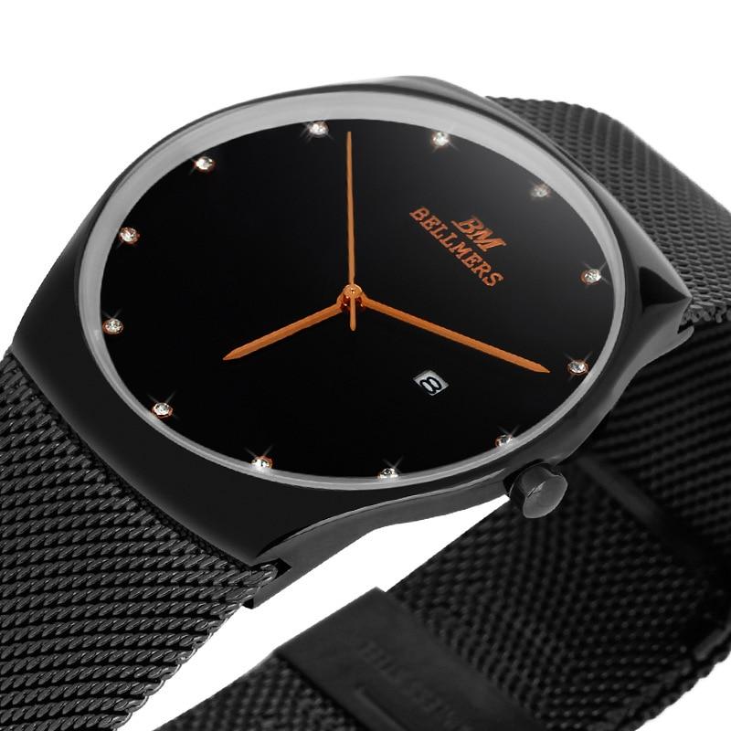 Fashion simple stylish Top Luxury brand BELLMERS Watches men women Stainless Steel Mesh strap band Quartz