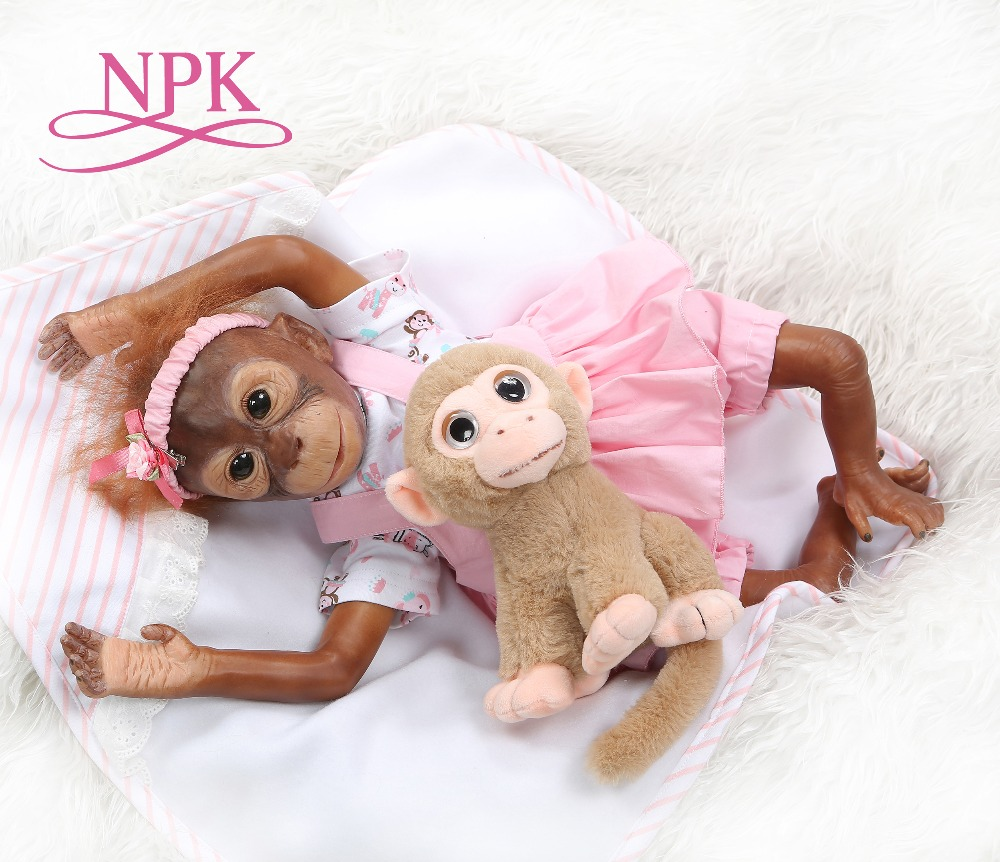 New 21inch 52CM 100 handmade reborn Monkey very soft silicone vinyl flexible Collectible art doll