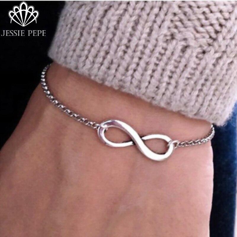 Jessiepepe Fashion Vintage Infinity 8 Bracelet For Women Bracelets Gift Wholesale Bangles Men Jewelry #B80008