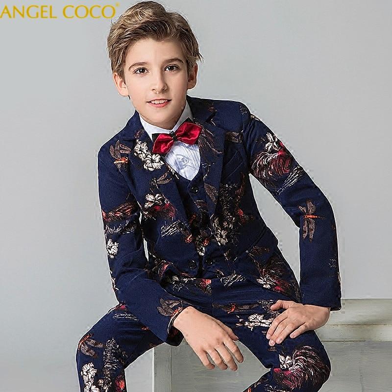 Джентльмен Принц печати костюм для мальчиков в Корейском стиле платье с цветочным узором для девочек Мужской Показать детям большой костюм