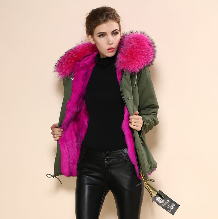 Large fur collar jacket women's Army green rose red lining Faux ...