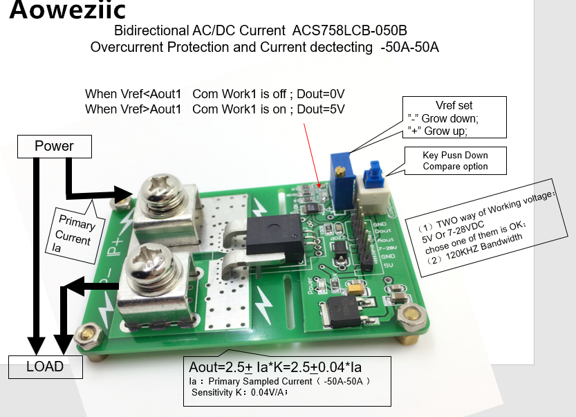 Aoweziic ACS758LCB-050B AC/ DC detection over current protection module over current protection function Rang:-50A-50A 1pcs current detection sensor module 50a ac short circuit protection dc5v relay page 4