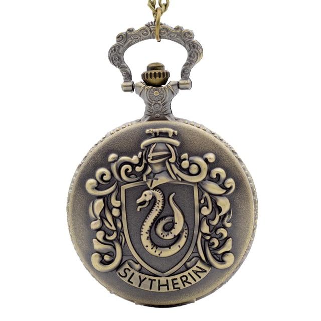 Retro Bronze Harry Potter Hogwarts College Slytherin Quartz Pocket Watch Analog